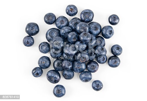 Pile of fresh blueberries over white background.