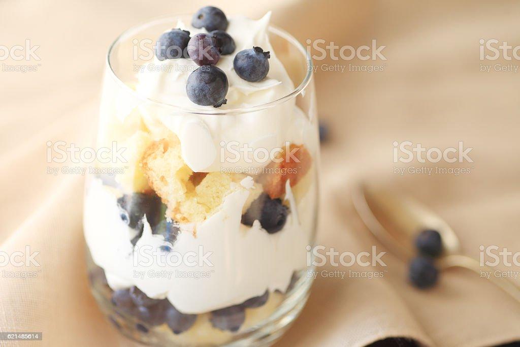 Fresh blueberry trifle, individual-sized stock photo