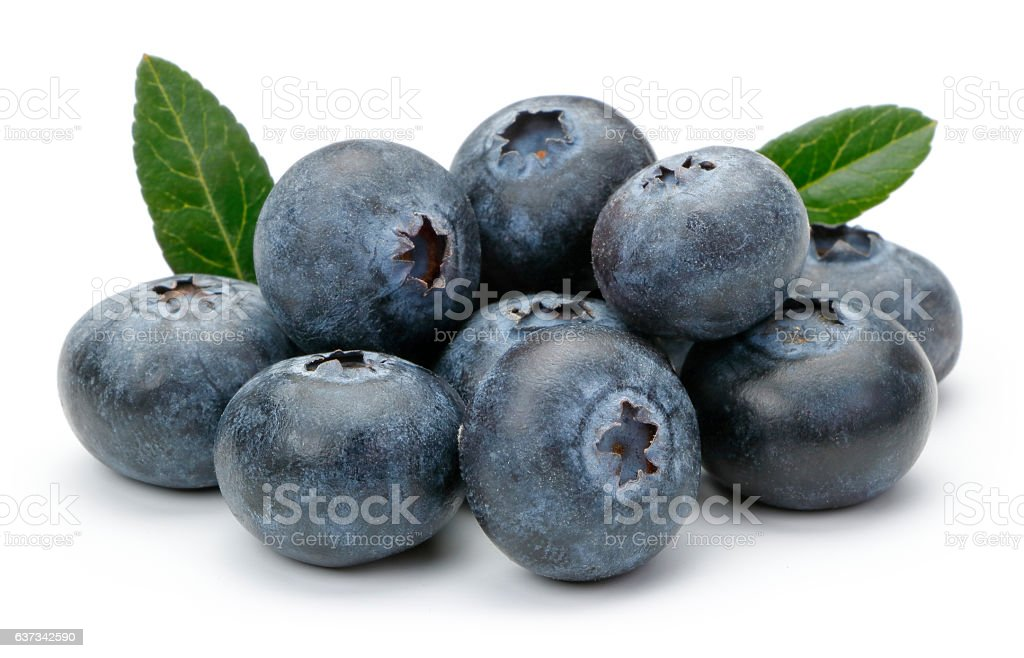 Fresh Blueberry with leaves stock photo