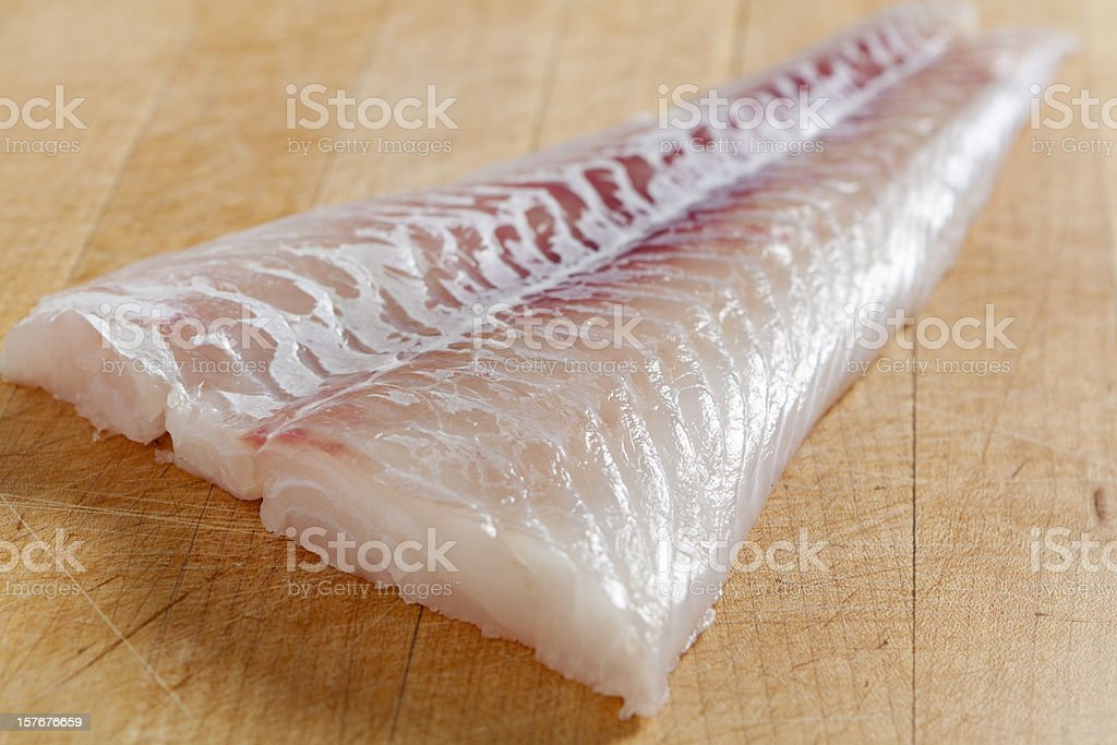 Fresh boneless skinless cod filet stock photo