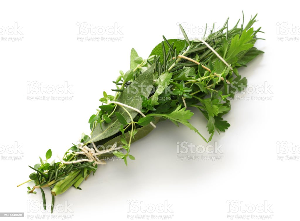 fresh bouquet garni, bunch of herbs stock photo