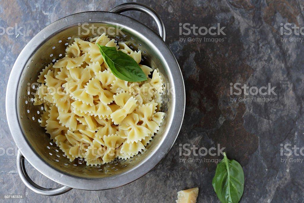 fresh bow pasta top view stock photo