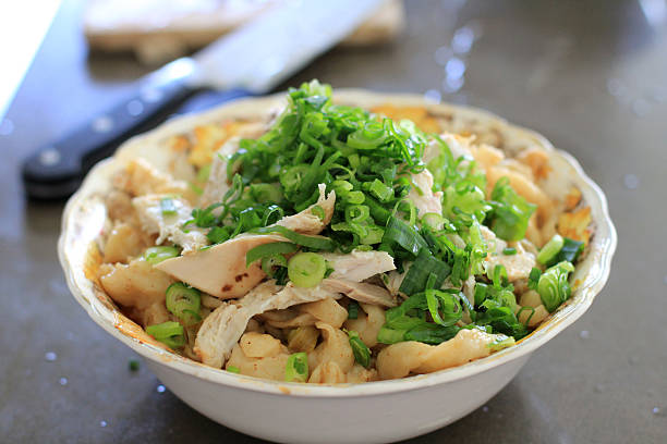 Fresh Bowl of Chicken Noodles stock photo