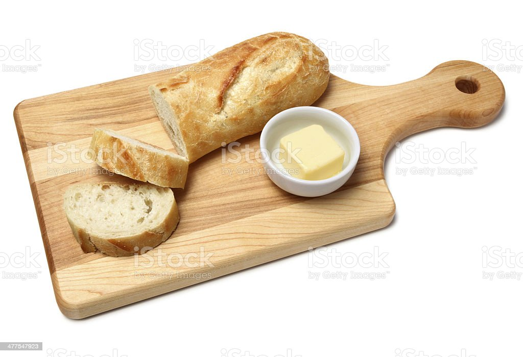 Fresh bread and butter stock photo