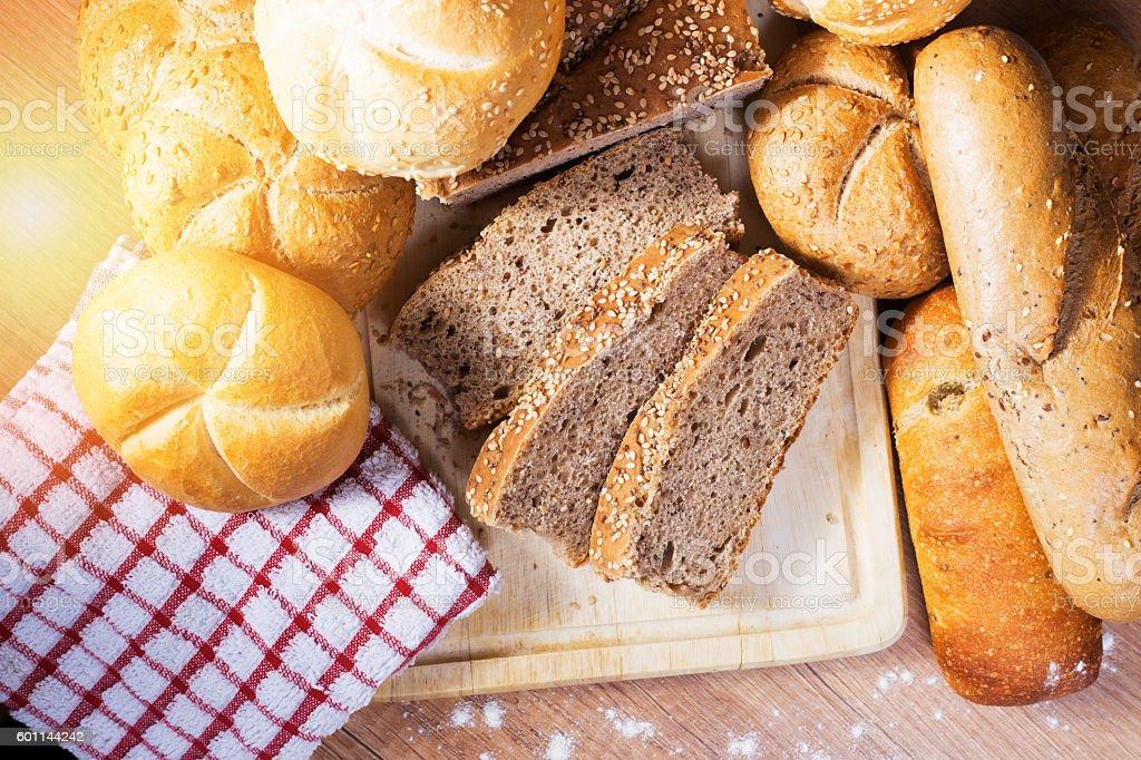 fresh bread and wheat stock photo