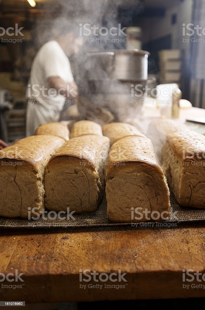 Fresh  Bread Cooling In a Bakery stock photo