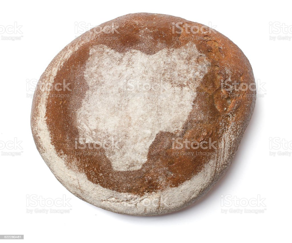Fresh bread covered with rye flour shaping Nigeria stock photo