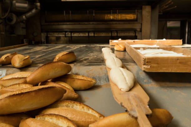 Fresh bread in bakery factory stock photo