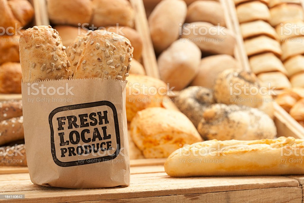 Fresh bread on counter top royalty-free stock photo