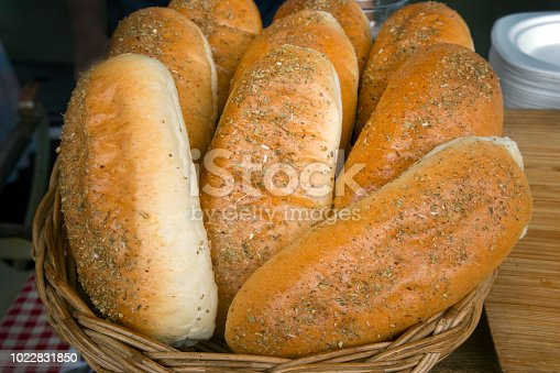 istock Fresh bread on shelves in bakery 1022831850