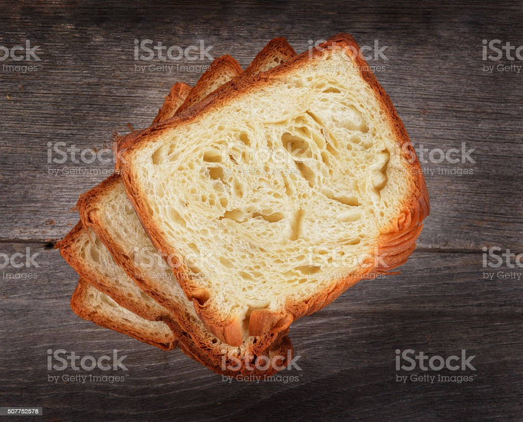 fresh bread on the wooden stock photo