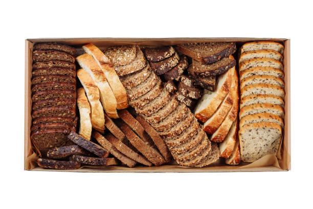 Fresh Bread Slice Mix Carton Delivery Box Top View stock photo