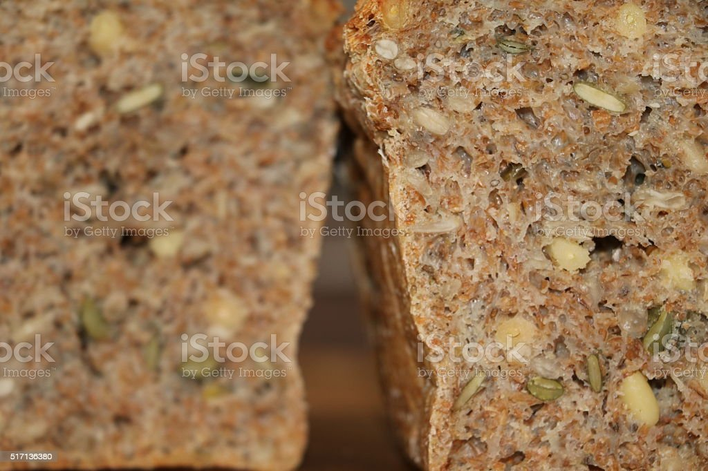 fresh bread with grains stock photo