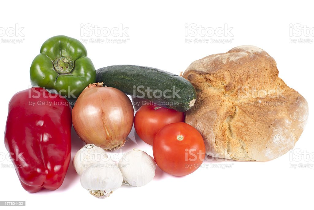 Fresh Bread with Peppers, Zucchini, Tomatoes, Onion and Garlics royalty-free stock photo