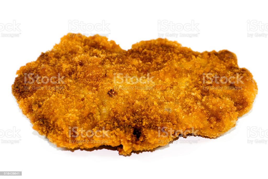 Fresh Breaded and Baked Slices from Beef on white background stock photo