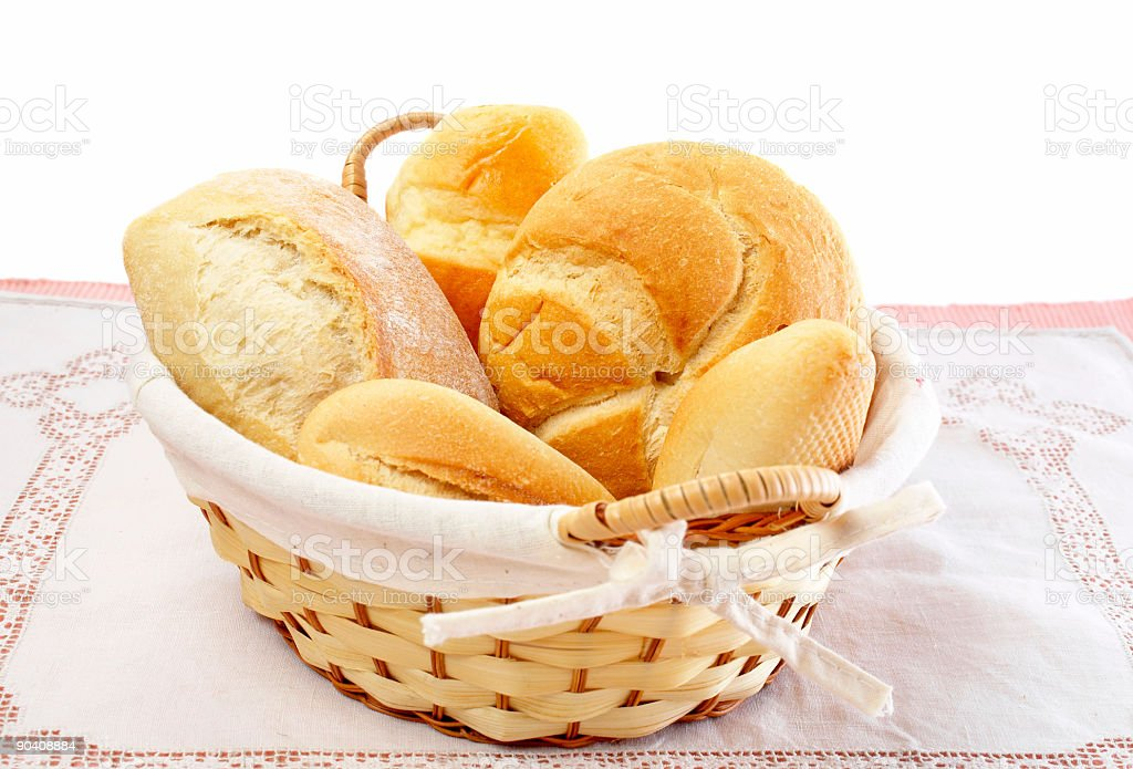 Fresh breads in a basket royalty-free stock photo