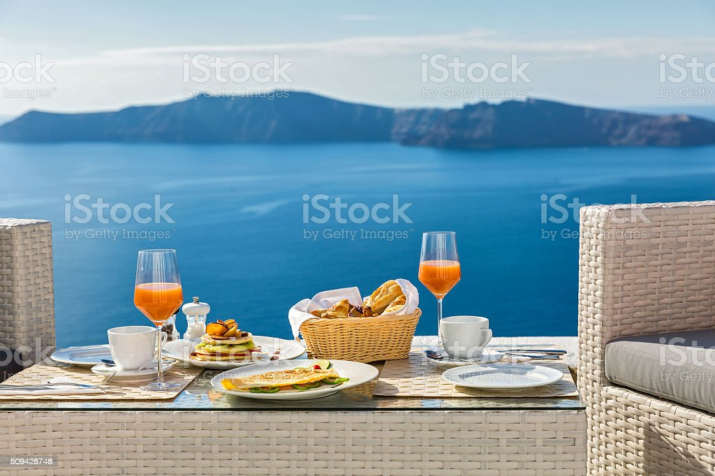 Fresh Breakfast and sea views stock photo