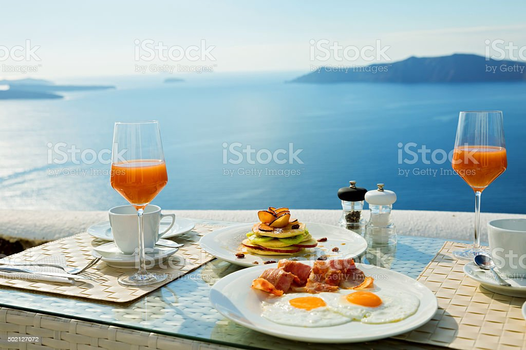 Fresh Breakfast near the sea stock photo