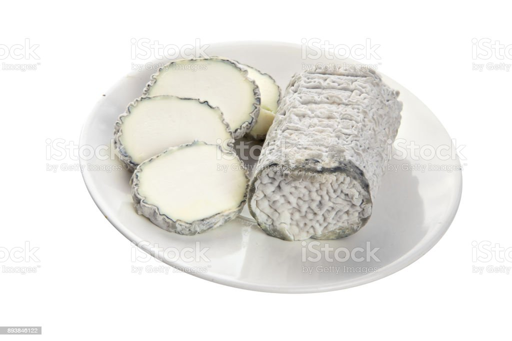 Fresh brie cheese with white mold on a white background stock photo