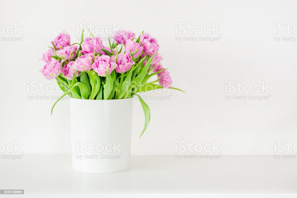 Fresh bright bouquet of pink tulip in white bucket. Beautiful greeting card. Spring holidas concept. Copyspace. Place for your text stock photo