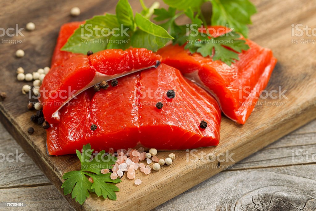 Fresh bright red Copper River Salmon fillets stock photo