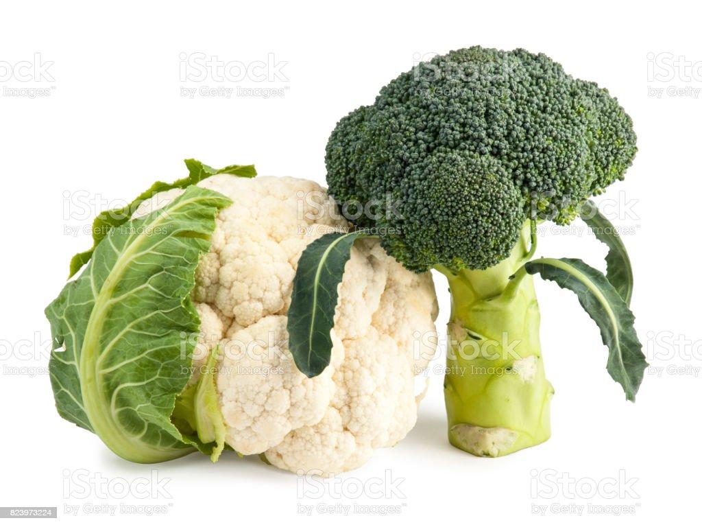 Fresh Broccoli and Cauliflower isolated on white stock photo