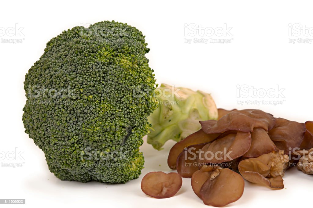 fresh broccoli and jew's Ear mushrooms on white background stock photo