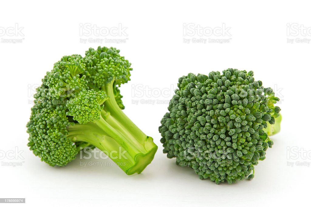 Fresh broccoli florets isolated on the white background stok fotoğrafı