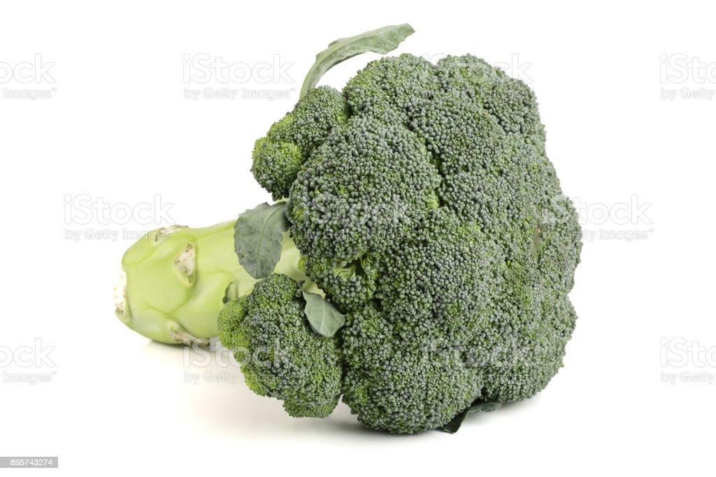 fresh broccoli isolated on white background close-up stock photo