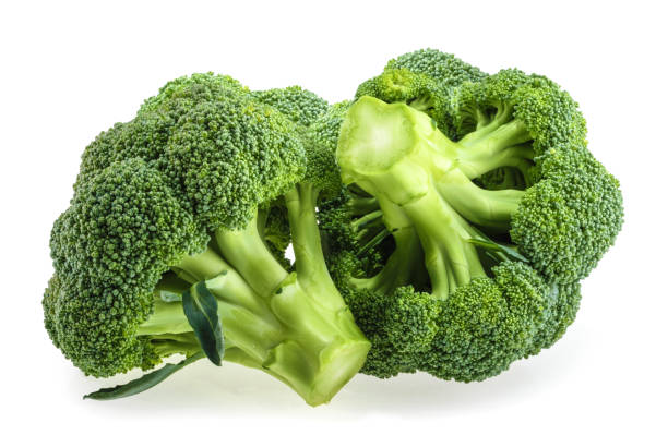 Fresh broccoli isolated on white background stock photo