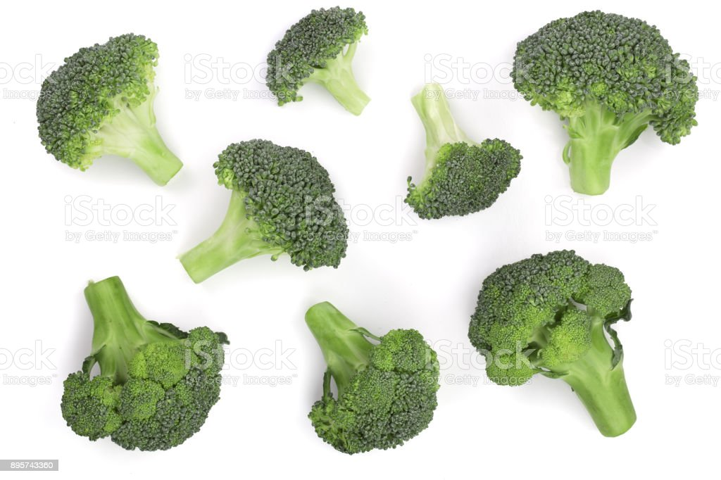 fresh broccoli isolated on white background. Top view. Flat lay pattern stock photo