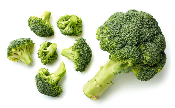 Fresh broccoli on white background stock photo