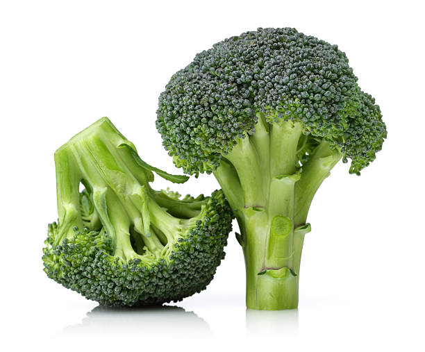 fresh broccoli - broccoli white background stock photos and pictures