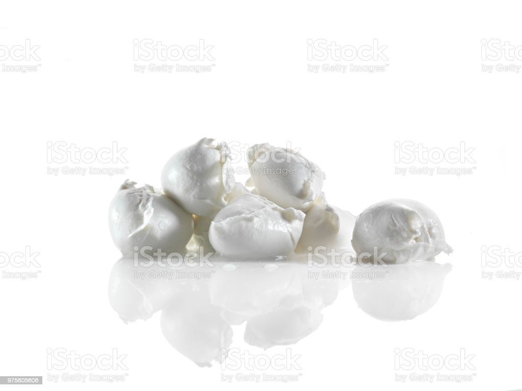 fresh bufala mozzarellas on white background stock photo
