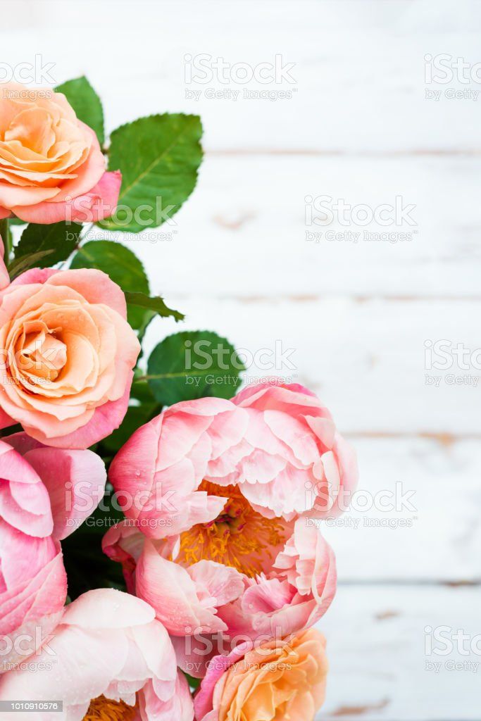 Fresh Bunch Of Pink Peonies And Roses Stock Photo & More Pictures of ...