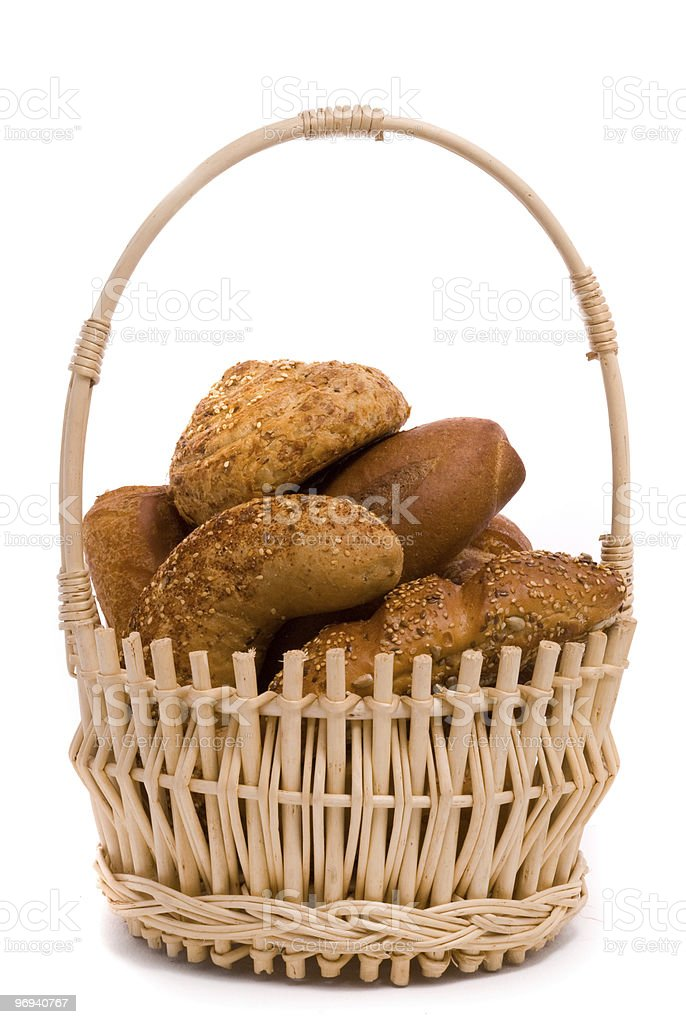 Fresh buns in a basket royalty-free stock photo