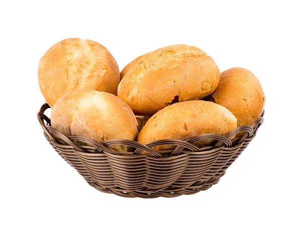 Fresh buns in basket isolated. stock photo