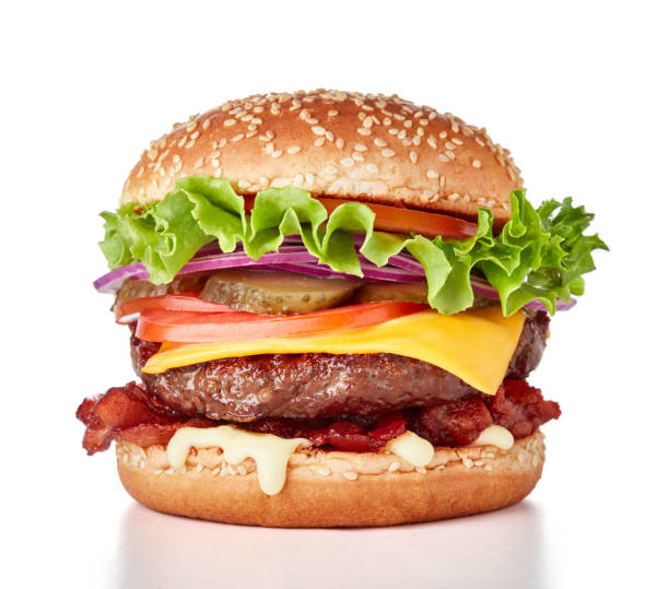 fresh burger isolated - burgers stock pictures, royalty-free photos & images