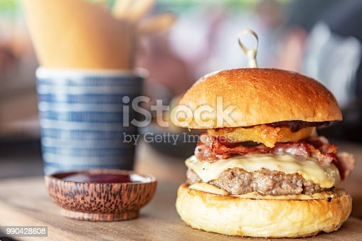 Fresh burger in outdoor cafe