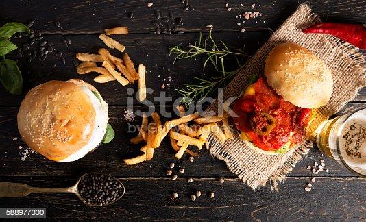 istock Fresh burgers 588977300