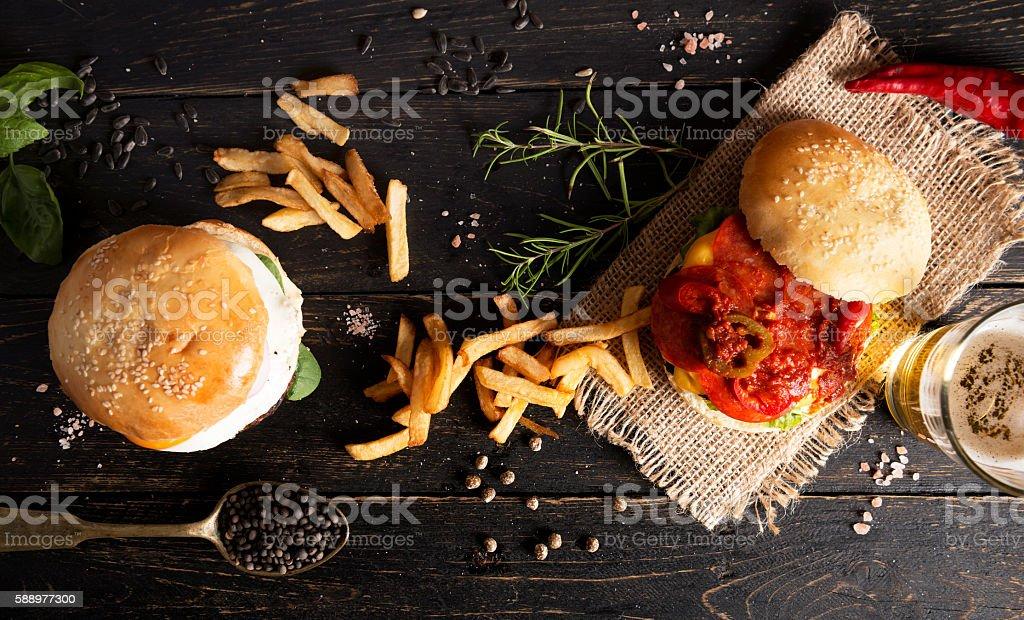 Fresh burgers stock photo