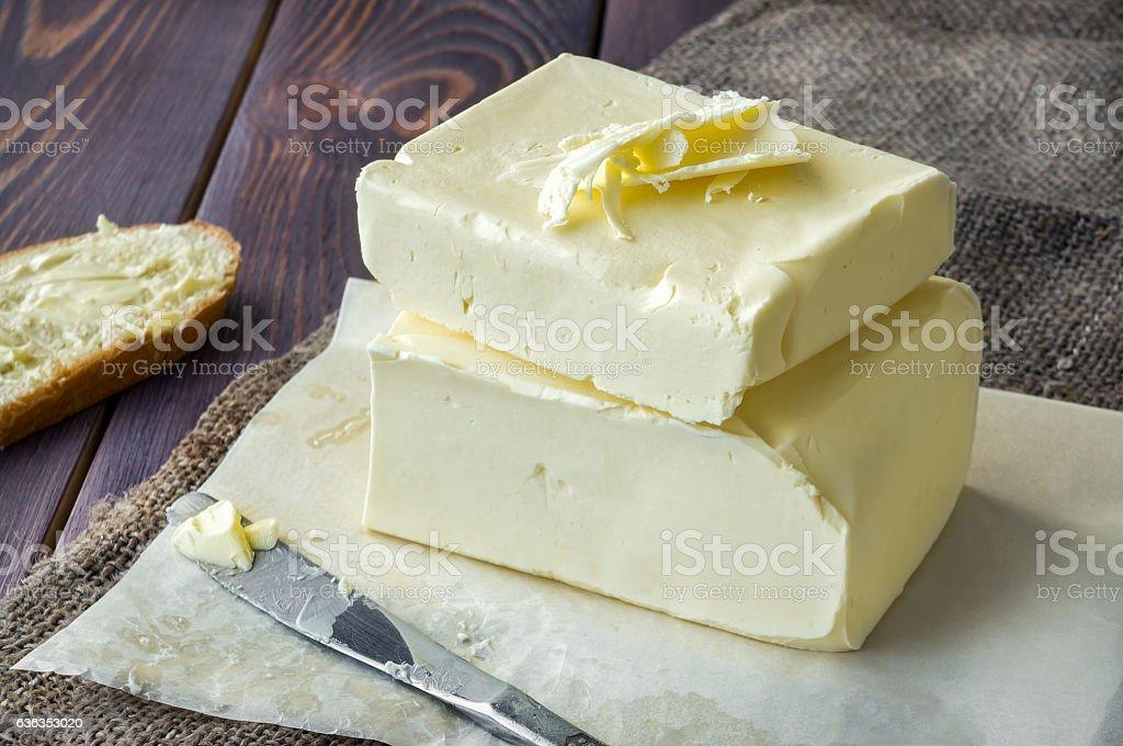 Fresh butter on a farm. stock photo