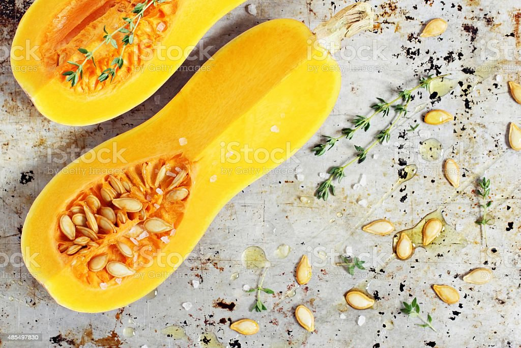 Fresh butternut pumpkin (squash) . stock photo