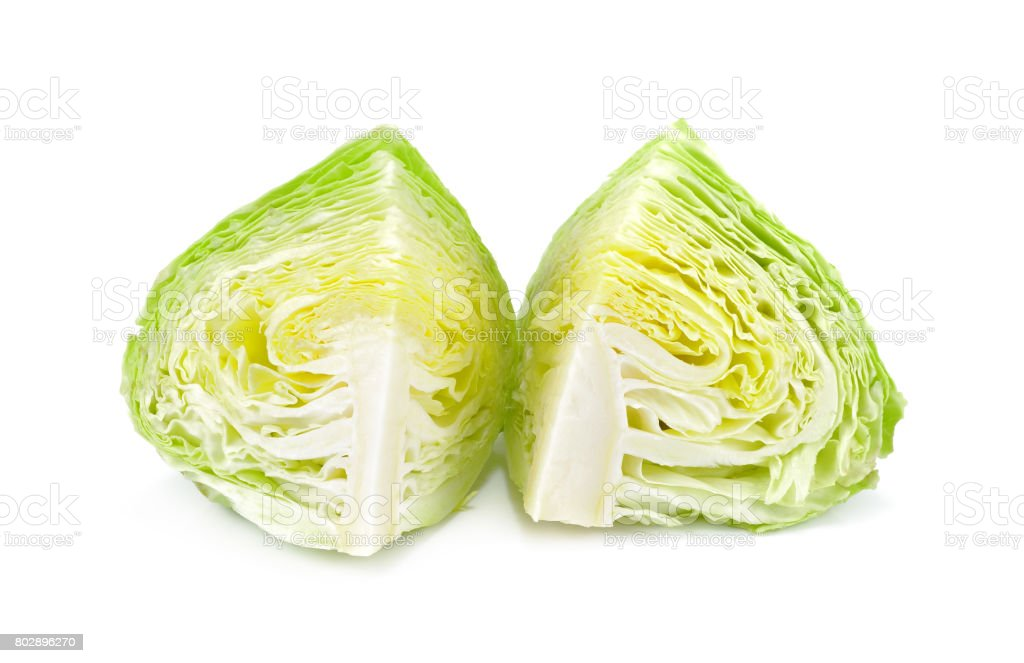 fresh cabbage isolated on white background, Cross section of ice lettuce stock photo