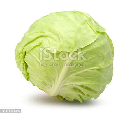 Fresh cabbage isolated on white with clipping path.