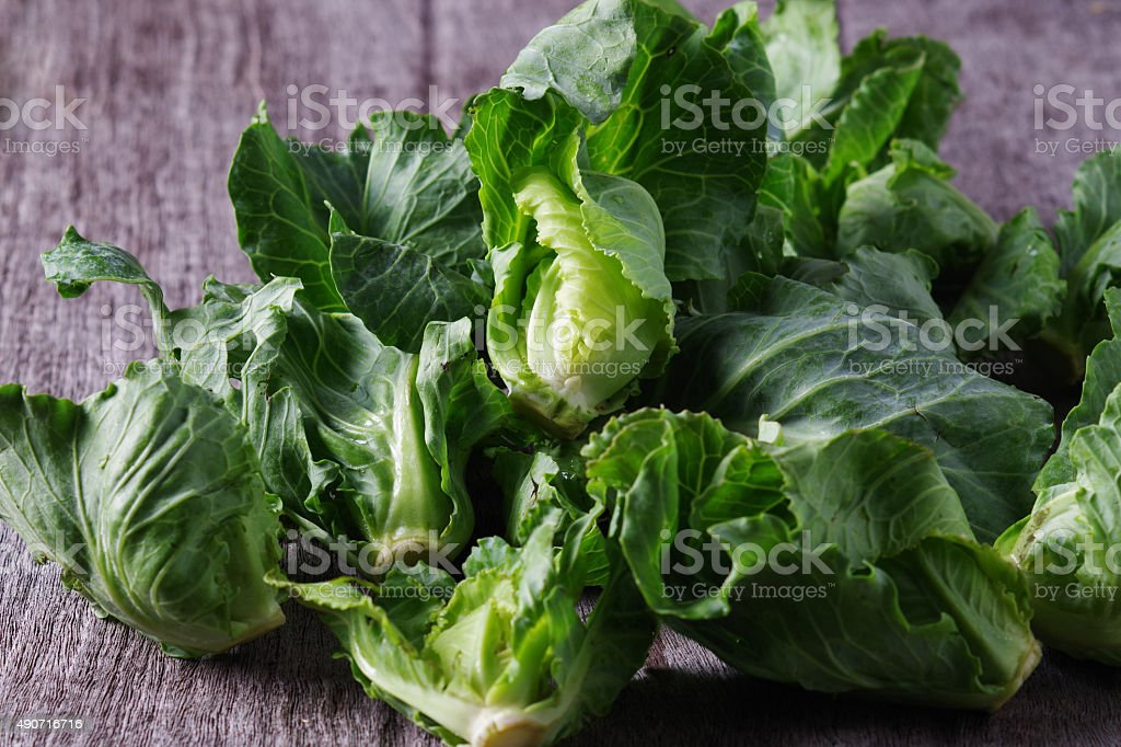 Fresh cabbage on wooden stock photo