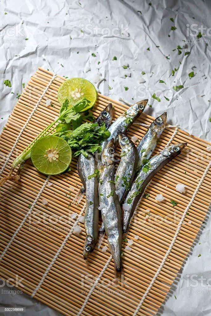 Fresh Capelin Fish stock photo