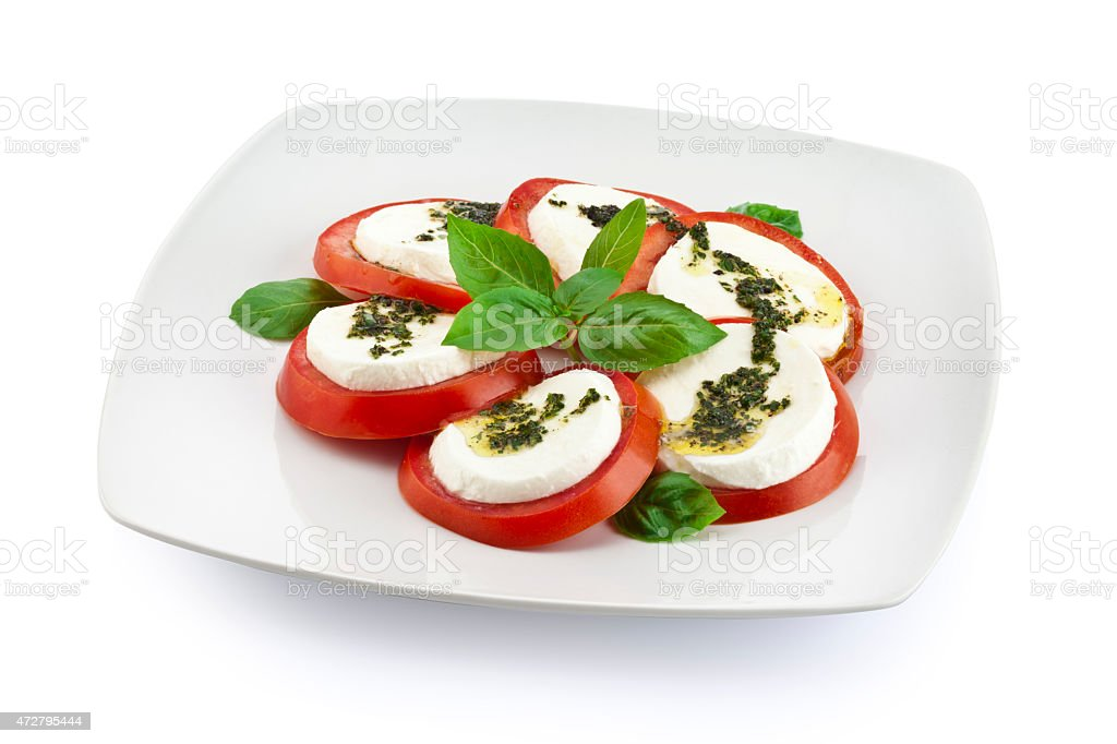 Fresh caprese salad with clipping path stock photo