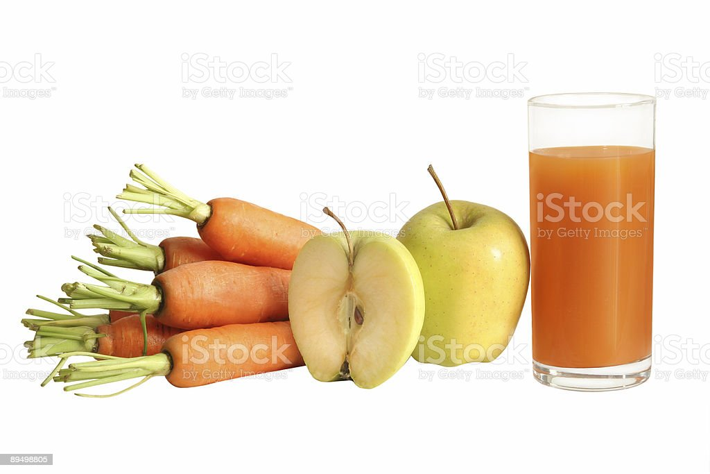 fresh carrot and apple juice royalty-free stock photo