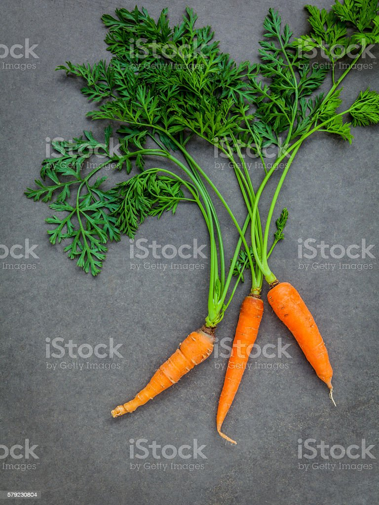 Fresh carrots bunch on dark concrete background. Raw fresh carro stock photo